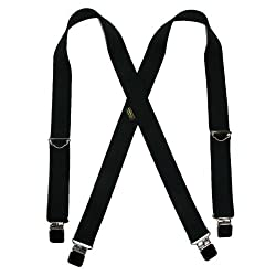 Welch Mens Elastic Clip-End 1 1/2 Inch Double Face Suspenders (Tall Available), Tall, Black