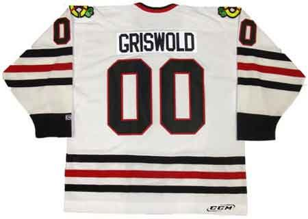 CLARK GRISWOLD Christmas Vacation Chicago Blackhawks CCM White Hockey Jersey, 2XL