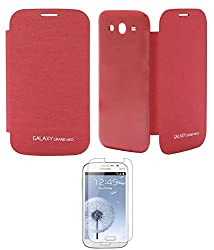 TBZ Premium Flip Cover Case -Red for Samsung Galaxy Grand Neo with Screen Guard