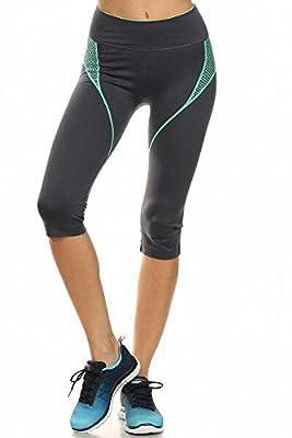 Sassy Apparel Women's Premium Yoga Gym Active Wear Seamless Cropped Capri Pants