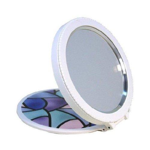 メンブレンミラー インクアートシリーズ 白・ステンドグラスズーム拡大鏡コンパクトミラー