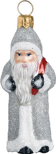 Ino Schaller Blown Glass Mini Silver Twilight Santa Ornament by Joy To The World Collectibles