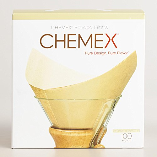 Chemex Bonded Unbleached Pre-folded Square Coffee Filters, 100 Count (Hot Top Coffee Roaster Filter compare prices)