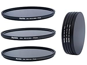 Ensemble de Filtres à densité neutre minces composés de filtres N8, ND64, ND1000 de 77mm y compris un conteneur de filtres avec un dispositif de protection des filtres et des bouchons d'objectif Pro