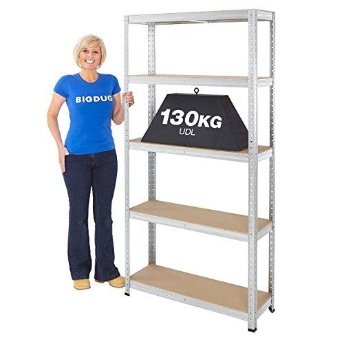 garage-shelving-boltless-galvanised-storage-shed-home-130kg-udl-5-shelves-steel-racking