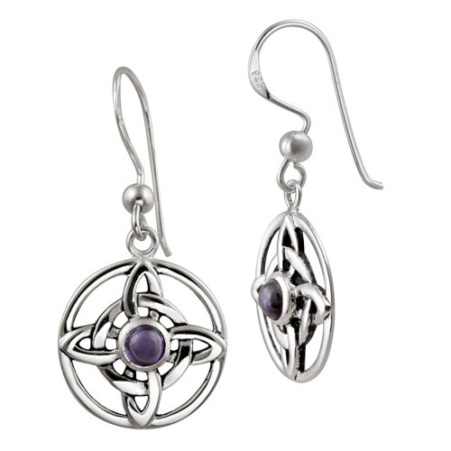 Sterling Silver Celtic Knot with Amethyst Center French Wire Earrings