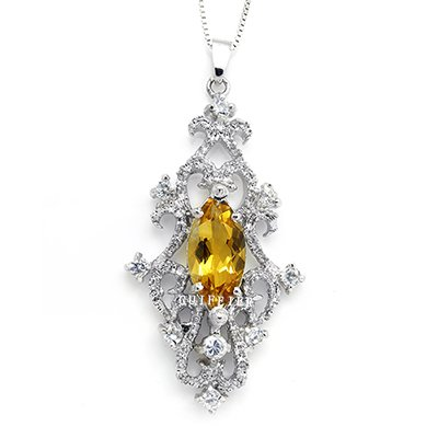 100% Genuine Citrine CZ 925 Silver White Gold Plating LUXURY Necklace Gem Jewellery