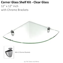 Floating Clear Glass Shelves(Corner)12x12 inch w/chrome Brackets