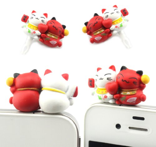 Big Dragonfly 2 Cute Fortune Cats 3.5Mm Earphone Jack Charm Anti Dust Plug Cap For Iphone 5 Iphone 4 4S ,Ipad ,Ipod Touch 5,Samsung Galaxy S3 S4 Note Note 2,Htc Red And White Box Package