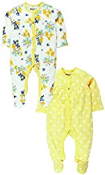 Sleepsuit With Attached Mitten And Botties Pack Of 2 , White & Yellow (Newborn)