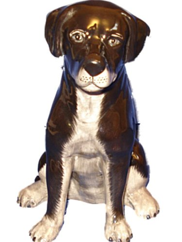 Hand Painted Ceramic Black Lab Dog Bank - 1