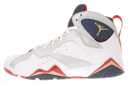 Youth Nike Air Jordan 7 Retro (GS) White / Metallic Gold / Obsidian / Turf Red 304774-135 Size 7