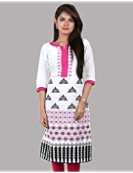 Pink With White Petunia Slub Cotton Printed Kurta From ESTYLe