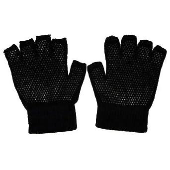 Half Finger / Fingerless Magic Gripper Gloves Size:One Size (Adult Unisex Mens Ladies Women) Colour:Black