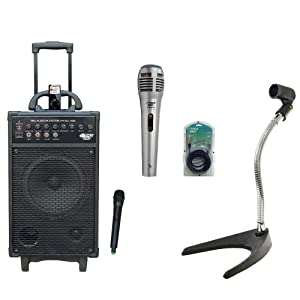 Pyle Speaker, Mic, Stand and Cable Package - PWMA860I 500W VHF Wireless Portable PA System /Echo W/Ipod Dock - PDMIK1 Professional Moving Coil Dynamic Handheld Microphone - PMKS8 U-Base Gooseneck Desktop Microphone Stand - PPFMXLR15 15ft. XLR Male to XLR Female Microphone Cable