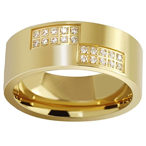 Bishilin Mens Or Womens Stainless Steel Rings 4 Rows Cz Wedding Bands 8Mm Golden Size 10