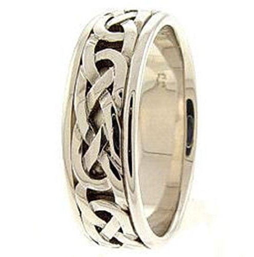 Fine 18K White Gold Endless Celtic Knot Band Trinity Wedding Ring
