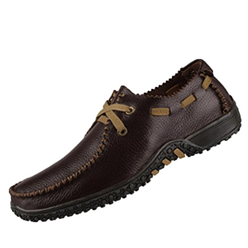 Wild Wind Men's Leather Plain Toe Oxfords Peas Sole Casual Soft Shoes Business Size 11.5 US Coffee