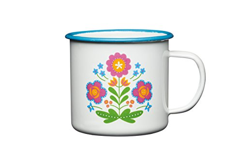 kitchen-craft-coolmovers-romany-sommer-blumenmuster-emaille-tasse-375-ml-05-pint-weiss
