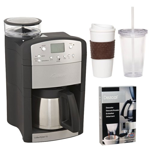 Capresso 465 CoffeeTeam TS 10-Cup Digital Coffeemaker with Conical Burr Grinder and Thermal Carafe + Coffee Mug & Iced Beverage Cup + Coffee/ Espresso Descaler