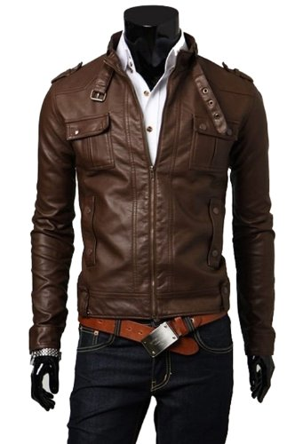 Men's Fashion Leather Motorcycle Jacket Slim