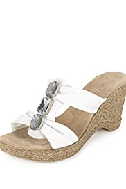 Leather Open Toe Diamant� Wedge Sandals [T02-3042-S]