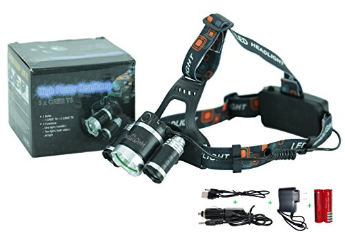 Flashlight Tents LED Lights Brightest 5000 Lumen Headlight Headlamp 3 CREE T6 with Rechargeable 18650 Battery, Wall & Car Charger, USB Cable, Strip Gear for Camping, Hiking, Riding, Fishing, Hunting
