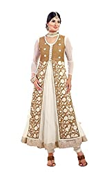 Siya Fashion women's Net Party Wear Unstitched Dress Material(si2006_ Beige color)