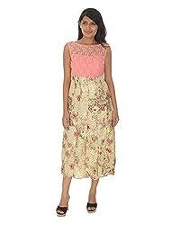 Gurpreet Kaur Women Net Tunic (TU001, Pink & Cream, 36)