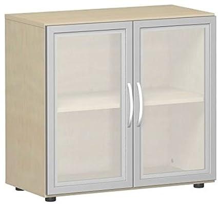 Gera Möbel ali porta armadio con porte in legno quadro con piedi, in vetro satinato, con porta sordina, non richiudibile, 800x 420x 752, acero