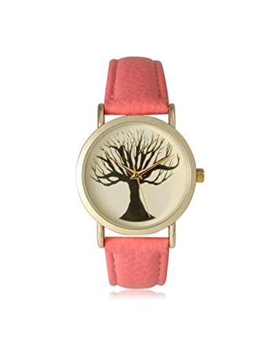 Olivia Pratt Women's 14952 Twisted Tree Coral Tree Emblem Leather Watch