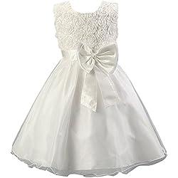 Waboats Ragazze Elegante Principessa Matrimonio Compleanno Partito Vestito 3 anni Bianco
