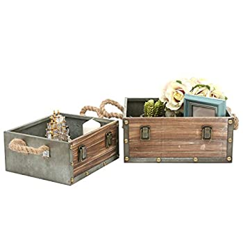 MyGift Set of 2 Wood Crates w/ Rope Handles, Rustic Nesting Storage Boxes, Brown