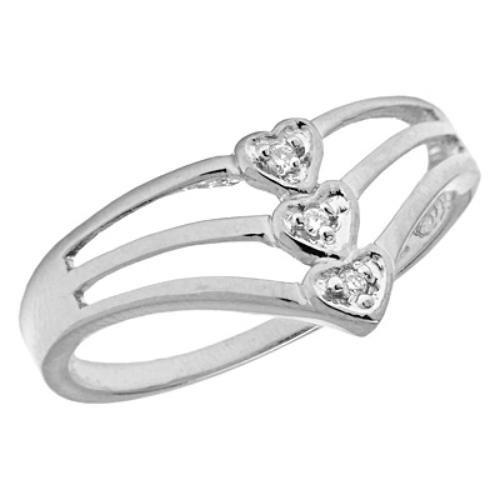 10K White Gold 3 Heart Diamond Promise Ring