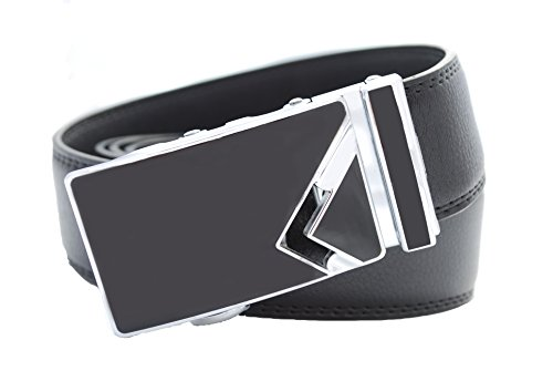 dBurg Products No Holes One Size Adjustable All Leather Black Ratchet Belt With Smooth Onyx Buckle Accented With Side Silver V Design