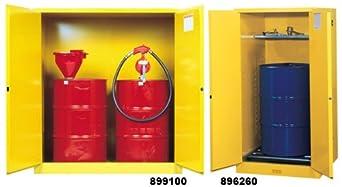 """Justrite 899160 Sure-Grip EX Steel 2 Door Manual Vertical Drum Flammables Storage Cabinet with Drum Rollers, 110 Gallon Capacity, 59"""" Width x 65"""" Height x 34"""" Depth, 1 Shelf, Yellow"""