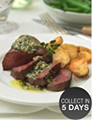 2 Venison Steaks with Salsa Verde Butter