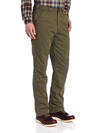 Carhartt Men's  Washed Twill Dungaree Flannel Lined, Army Green, 30 x 30