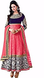Tellywoodstyle Women's Georgette Unstitched Dress Material (mahi pink 05_Pink_Free Size)