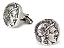 Pewter Authentic Reproduction Athena Greek Coin Cufflinks Museum Design Jewelry Made In Usa