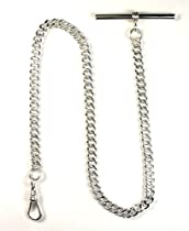 "Dueber 12"" Solid Sterling Silver Pocket Watch Chain with T Bar - USA!"