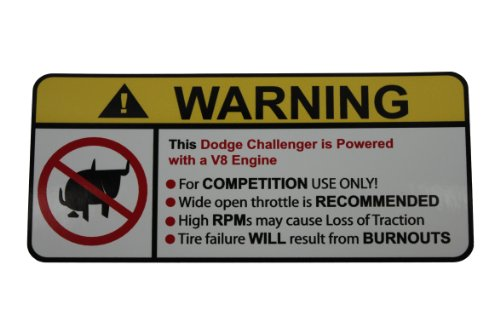 Dodge Challenger V8 No Bull, Warning Decal, Sticker