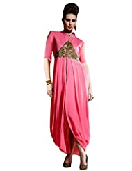 Shonaya Pink Colour Hand Work Georgette Stitched Kurti - B019MP96O4