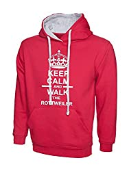Keep Calm And Walk The Rottweiler Dog Hot Pink Contrast Hoody