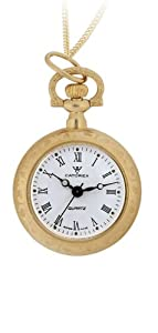 Catorex Men's 180.6.1630.110 La Pautele Automatic Exhibition Case Roman Numerals Gold Plated Brass Pocket Watch