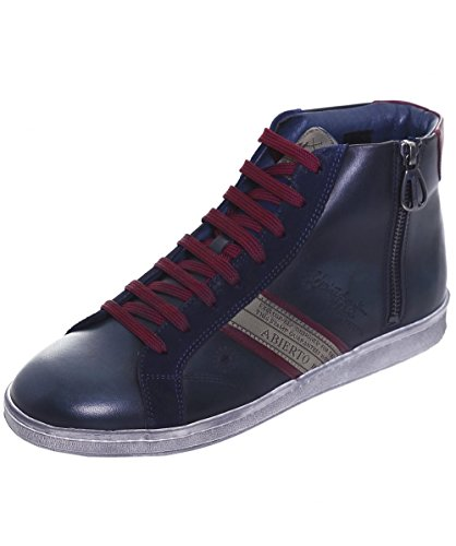 La Martina Uomo Sneaker in pelle High-Top ASCOT 44 Blu Marino