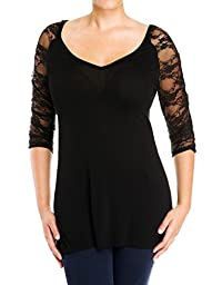 eVogues Plus Size Sexy Lace Accented Black Tunic Top - 2X
