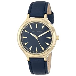 Anne Klein Women's AK/1504NVNV Gold-Tone Case Navy Blue Leather Strap Watch