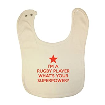Buy Mashed Clothing I'm Rugby Player Your Superpower? Organic Baby Bib by Mashed Clothing