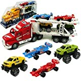 High Powered Truck! Strong Power Truck Series Auto Carrier W/4 Cars Toy for Kids (Colors May Vary)